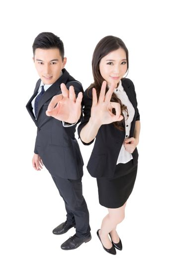 business woman and man give you an okay sign