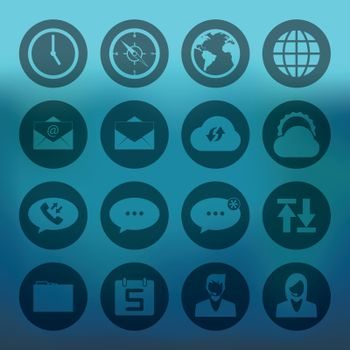 Blue background with circle icons mobile phone connection set