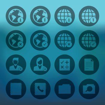Circle mobile phone icons network set
