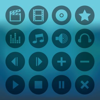 Blue background with circle media player icons set