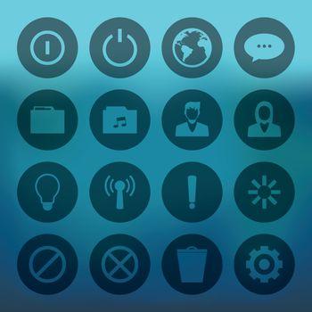 Circle mobile phone icons connectio set