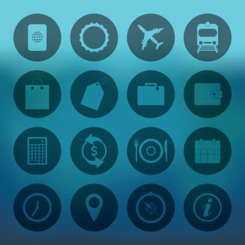 Blue background with circle Travel Icons set