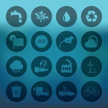 Blue background with circle Eco icons set