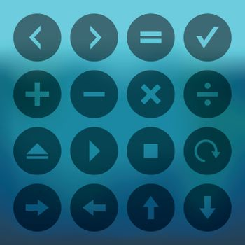 Blue background with circle icons of calculator and computer