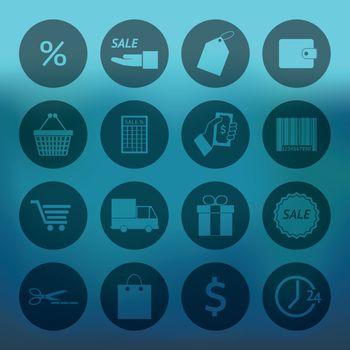 Circle Shopping icons set
