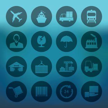 Blue background with circle Logistics icons set