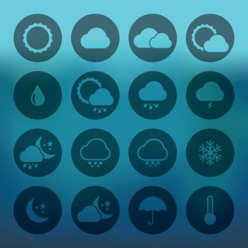 Blue background with Icon set of weather