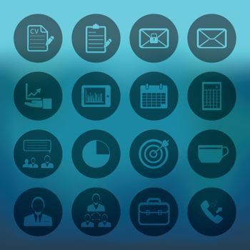 Blue background with Business and office icons set