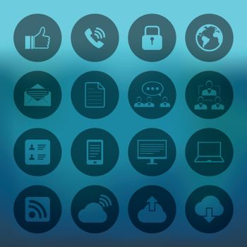 Blue background with Internet icons set