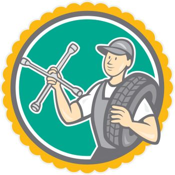Mechanic With Tire Wrench Rosette Cartoon