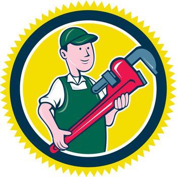Plumber Monkey Wrench Rosette Cartoon