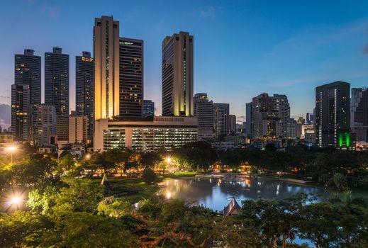 Bangkok city downtown at night