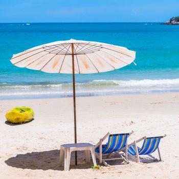 Beach chair and Umbrella on the beach at Samed Island,Thailand