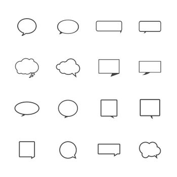 Speech bubble icons on white background.