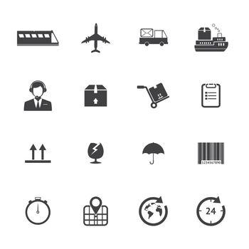Black and White Logistics icons