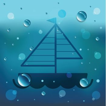Sailboat boat on glass and water drop.EPS10