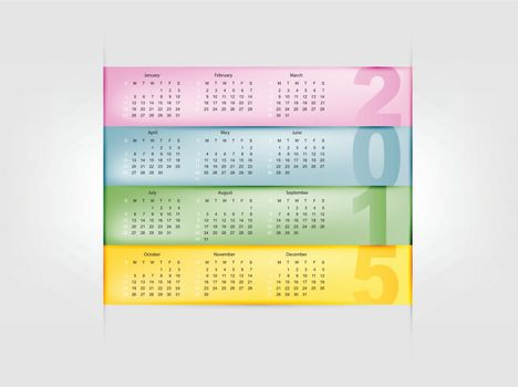 calendar for 2015 year with colorful background