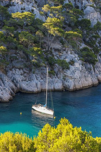 Calanques of Port Pin with boat