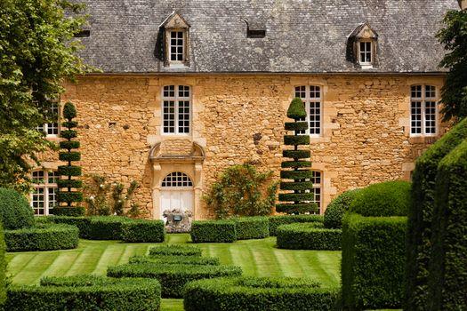 Beautiful french garden in the region of Dordogne