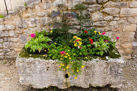 Beautifully composed flower box with colorful plants in Perigueux bolonging to the french region of Dordogne