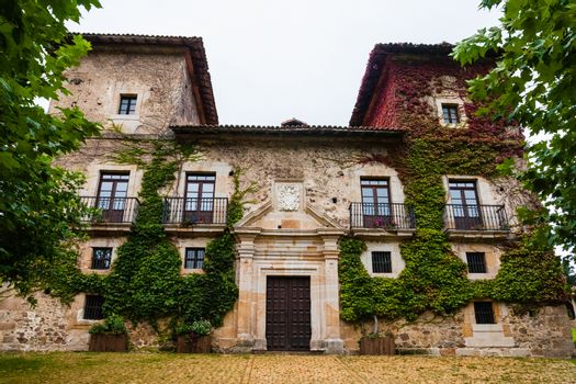 Beautiful outdoors view of Martinporra Palace facade in the Bimenes county of Asturias Spain