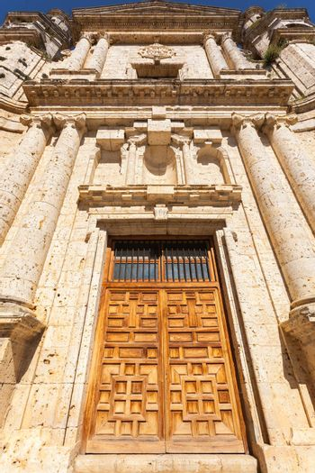 Great door view in the Monastery of the Santa Espina in the province of Valladolid Spain