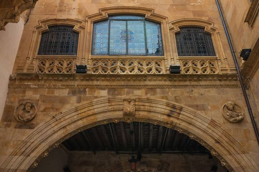 Beautiful large window in the courtyard of the Palace of La Salina in Salamanca