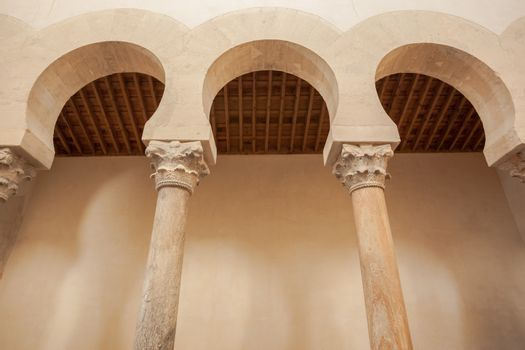 Closeup view of the mozarabic arcade in the chruch of San Cebrian de Mazote located in the province of Valladolid Spain