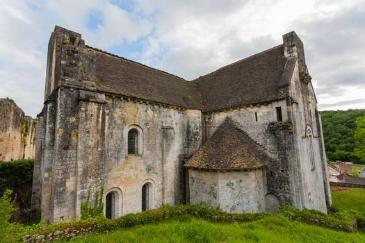Romanesque fortified church of Saint Amand de Coly in the french region of Dordogne