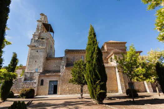 Outdoors view of San Cebrian de Mazote mozarabic church in the province of Valladolid Spain