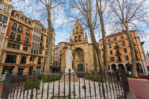 Full view of San Vicente square in the city of Bilbao with the church at the bottom
