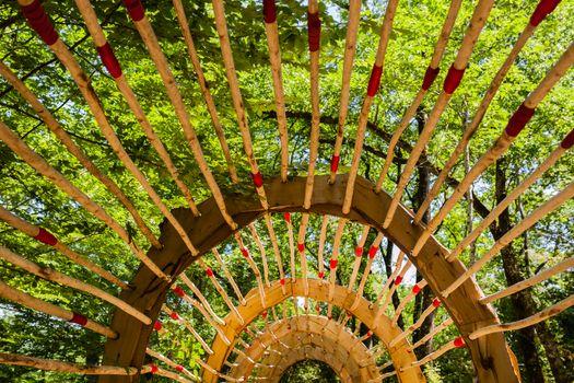 Original wooden pergola as pathwalk in french garden in the region of Dordogne France