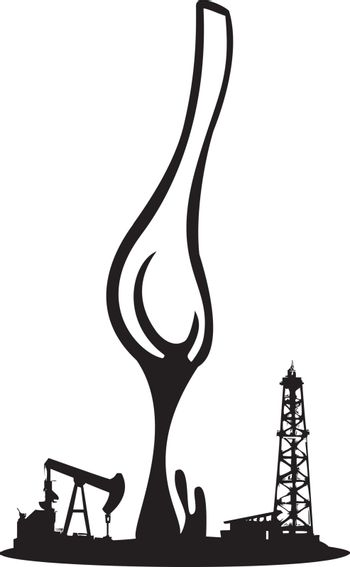 Spoon Pouring oil onto an Oil Drill and pump jack.
