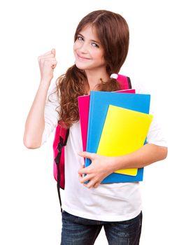Happy cheerful schoolgirl