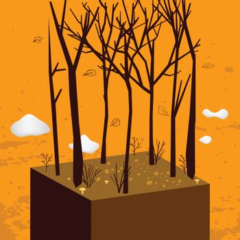 Autumn, fall countryside landscape, seasonal forest scenery. Autumn vector concept illustration.