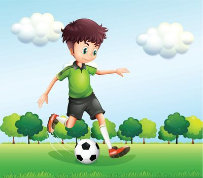 Illustration of a boy with a green t-shirt playing football