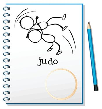 Illustration of a notebook with a sketch of two people doing judo on a white background