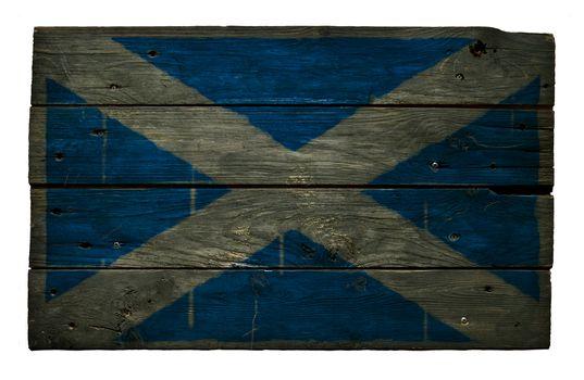 scotland flag on aged wooden wound