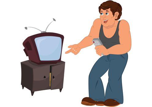 Cartoon man in gray sleeveless top standing near old TV