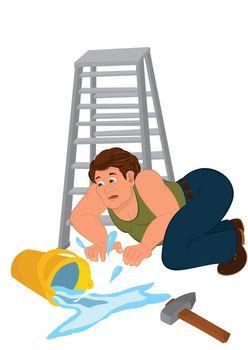 Cartoon man in green sleeveless top fall down from ladder