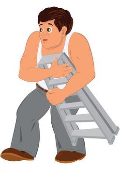 Cartoon man in white sleeveless top holding small ladder