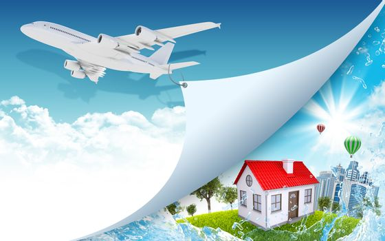 Airplane pulls the rope edge of paper. Nature landscape with buildings as backdrop