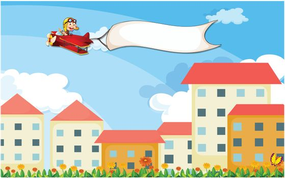 Illustration of a plane above the houses with an empty banner