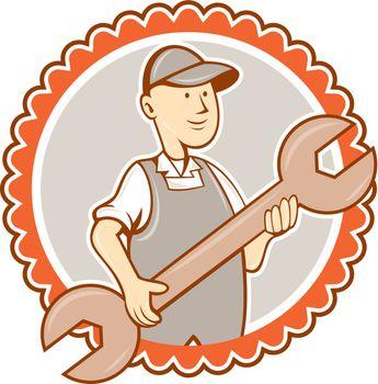 Mechanic Spanner Wrench Rosette Cartoon