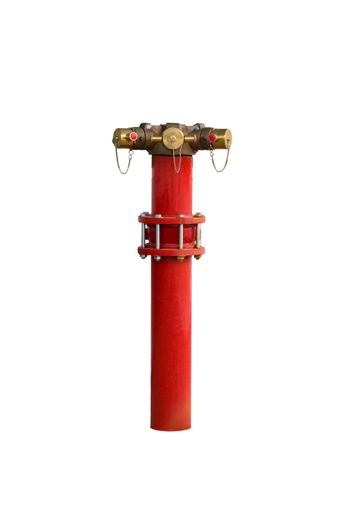 Red metallic fire hydrant Connection on street isolated on white