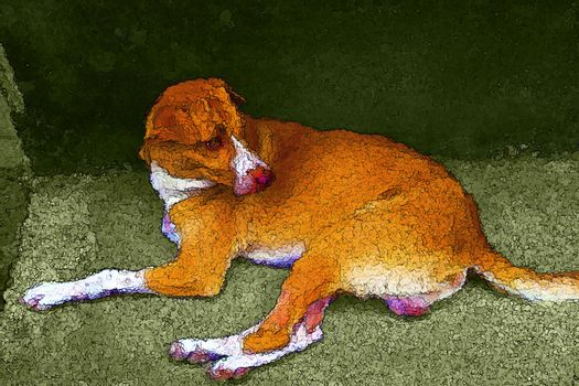 Dog creative painting style