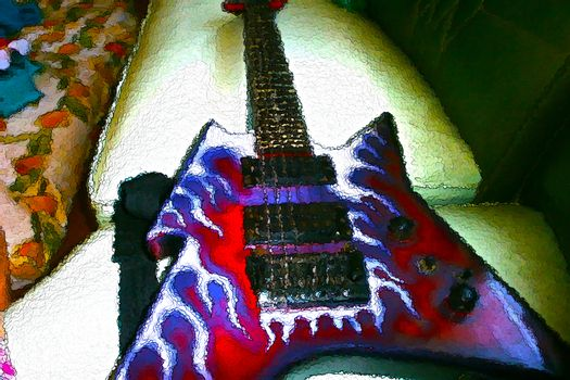 Electric guitar creative painting style