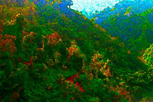 Forest mountain creative painting style