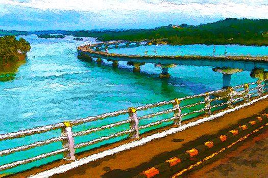 Winding bridge creative painting style