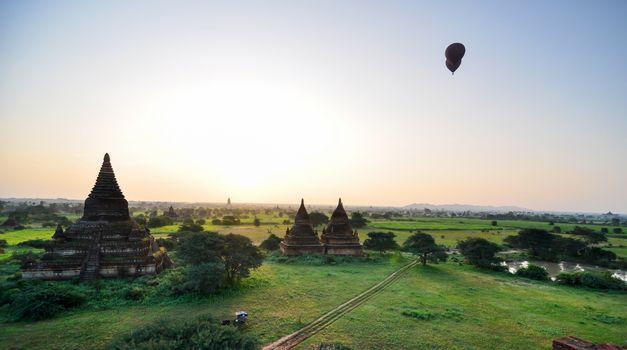 Panorama view of sunrise at Ancient Temples in Bagan
